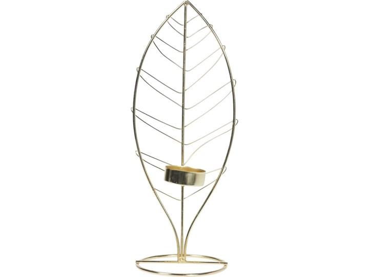 ŚWIECZNIK METALOWY LIŚĆ ZŁOTY H28cm Kategoria Świeczniki i świece Kolor Złoty