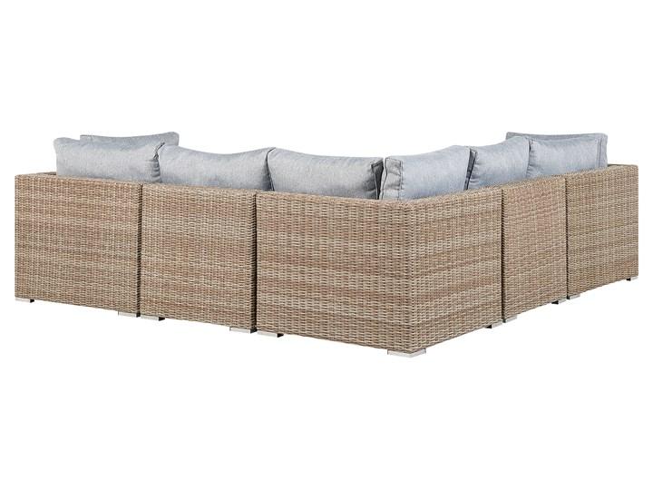 Zestaw mebli ogrodowych brązowy rattan szare poduchy modułowy narożnik fotel stolik kawowy Zawartość zestawu Fotele Aluminium Tworzywo sztuczne Zestawy modułowe Zestawy wypoczynkowe Technorattan Zestawy kawowe Kategoria Zestawy mebli ogrodowych