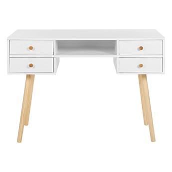 Biurko białe 110 x 55 cm na jasnych drewnianych nogach 4 pojemne szuflady styl skandynawski