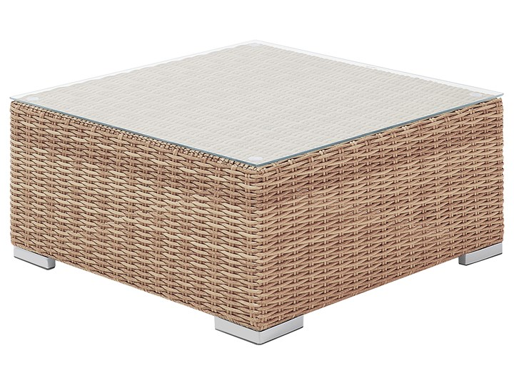 Zestaw mebli ogrodowych brązowy rattan szare poduchy modułowy narożnik fotel stolik kawowy Zestawy kawowe Aluminium Zestawy modułowe Technorattan Zestawy wypoczynkowe Tworzywo sztuczne Zawartość zestawu Fotele