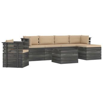vidaXL 7-cz. zestaw wypoczynkowy z palet, z poduszkami, lita sosna