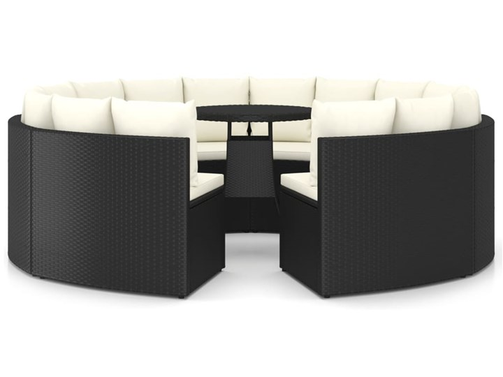 vidaXL 9-częściowa sofa ogrodowa z poduszkami, rattan PE, czarna Technorattan Stal Tworzywo sztuczne Zestawy wypoczynkowe Kolor Czarny
