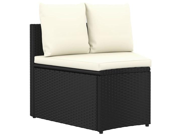 vidaXL 9-częściowa sofa ogrodowa z poduszkami, rattan PE, czarna Tworzywo sztuczne Technorattan Stal Zestawy wypoczynkowe Kolor Czarny