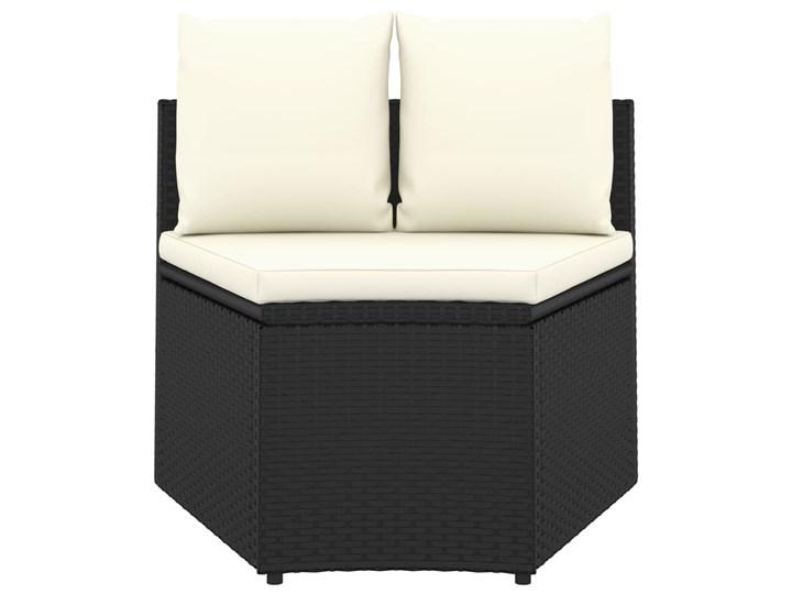 vidaXL 9-częściowa sofa ogrodowa z poduszkami, rattan PE, czarna Stal Tworzywo sztuczne Technorattan Zestawy wypoczynkowe Kolor Czarny