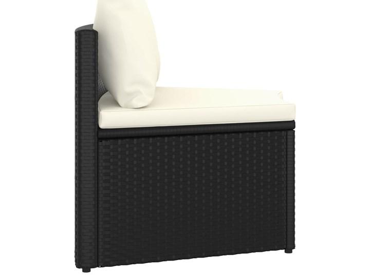 vidaXL 9-częściowa sofa ogrodowa z poduszkami, rattan PE, czarna Zestawy wypoczynkowe Tworzywo sztuczne Technorattan Stal Kolor Czarny
