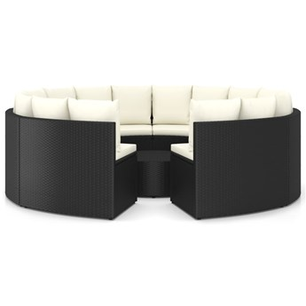 vidaXL 9-częściowa sofa ogrodowa z poduszkami, rattan PE, czarna