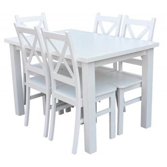 Stół + 5 Krzeseł do Kuchni Jadalni 120x80 Biały
