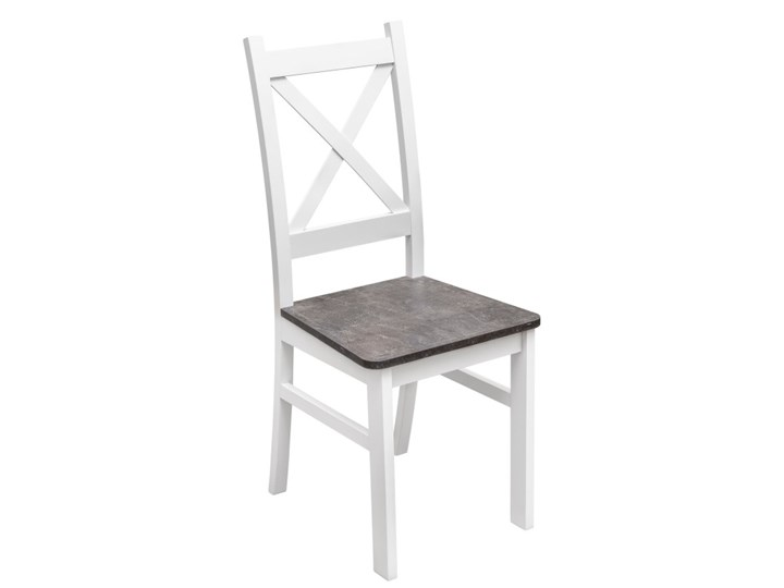 Krzesło Drewniane z Twardym Siedziskiem do Kuchni Jadalni Beton Drewno Tkanina Tapicerowane Kolor Biały