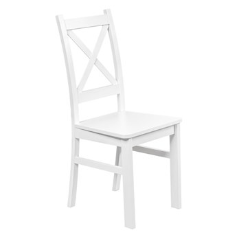 Krzesło Drewniane z Twardym Siedziskiem do Kuchni Jadalni BIały