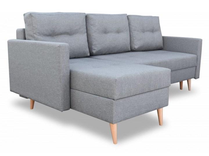 Narożnik z Funkcją Spania Malmo Szary W kształcie L Typ Gładkie Wykonanie siedziska Sprężyny