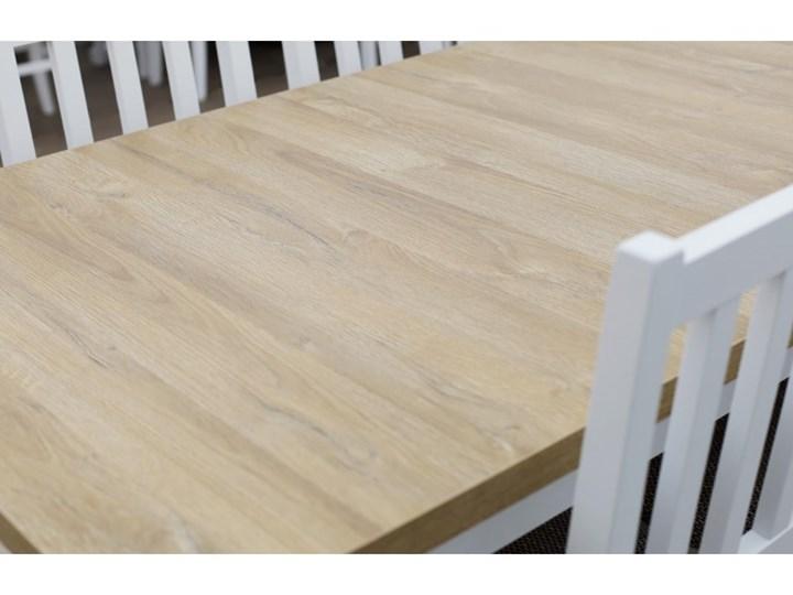 Stół Rozkładany + 6 Krzeseł do Kuchni 180/140x80 Brąz Kolor Biały