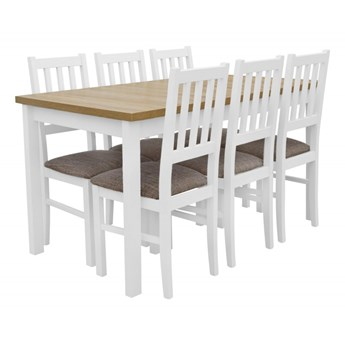 Stół Rozkładany + 6 Krzeseł do Kuchni 180/140x80 Brąz