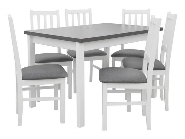 Stół Rozkładany + 6 Krzeseł do Kuchni 150/120x80 Grafit Kolor Biały