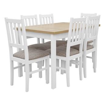 Stół Rozkładany + 6 Krzeseł do Kuchni 150/120x80 Brąz