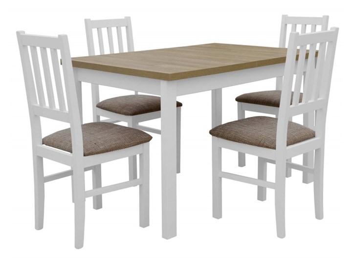 Stół Rozkładany + 4 Krzesła do Kuchni 150/120x80 Brąz Kolor Beżowy Kategoria Stoły z krzesłami
