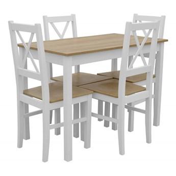 Stół + 4 Krzesła do Kuchni Jadalni 110x60 Brąz