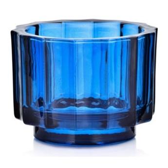 Lampion na tealight świecznik DUKA OPTISK 9x7 cm niebieski szkło