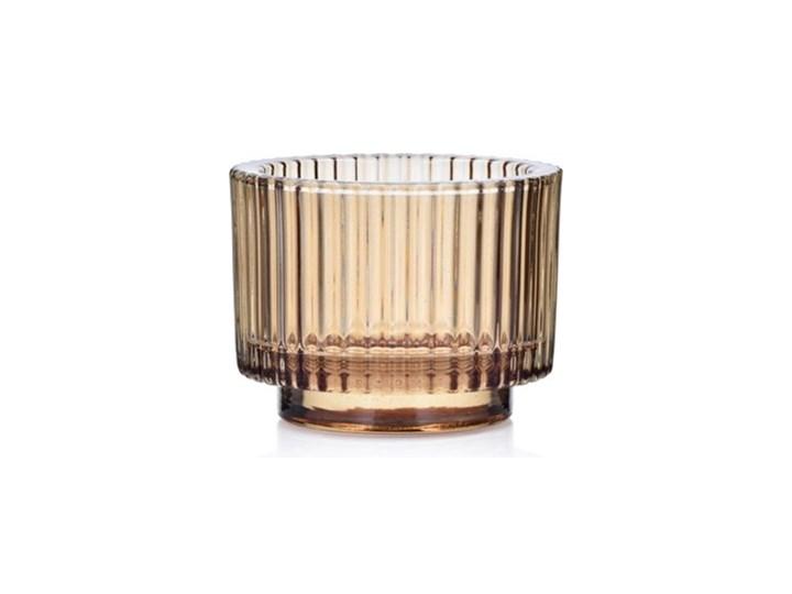 Lampion na tealight świecznik DUKA OPTISK 9x7 cm żółty szkło