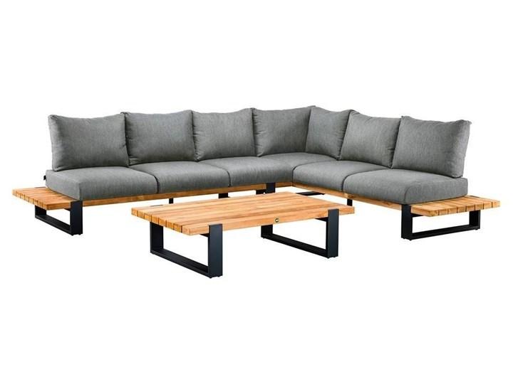 Zestaw wypoczynkowy do ogrodu NARDO II antracyt Aluminium Kategoria Zestawy mebli ogrodowych Drewno Zestawy wypoczynkowe Kolor Czarny