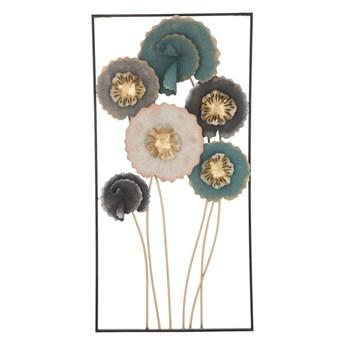 Żelazna dekoracja ścienna z motywem kwiatów Mauro Ferretti Obly, wys.88,5 cm