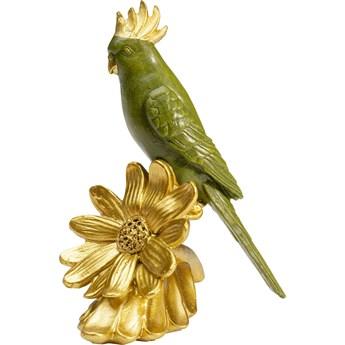Figurka dekoracyjna Flower Parrot 13x13 cm zielono-złota