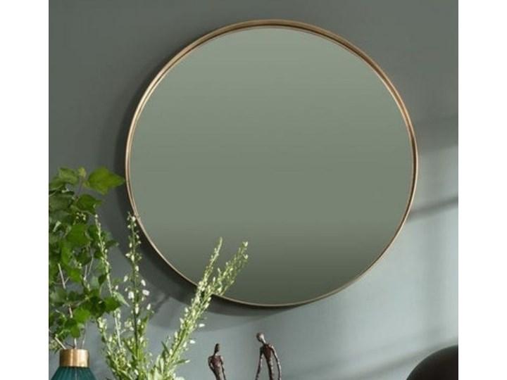 Lustro wiszące Curve Round ∅100 cm mosiężne Lustro z ramą Okrągłe Ścienne Styl Vintage Pomieszczenie Sypialnia