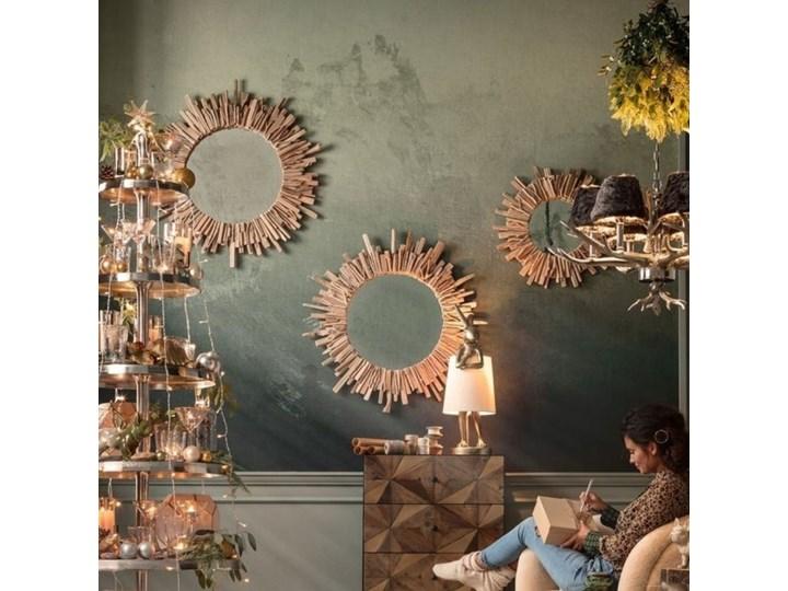 Lustro wiszące Legno ∅82 cm drewniane Nieregularne Styl Klasyczny Ścienne Okrągłe Lustro z ramą Pomieszczenie Sypialnia
