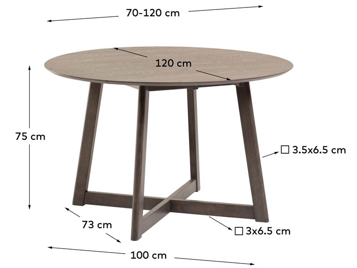 Stół rozkładany Maryse ∅120 cm ciemnobrązowy Drewno Płyta laminowana Rozkładanie Rozkładane