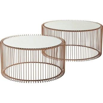 Zestaw dwóch stolików kawowych Wire miedziane