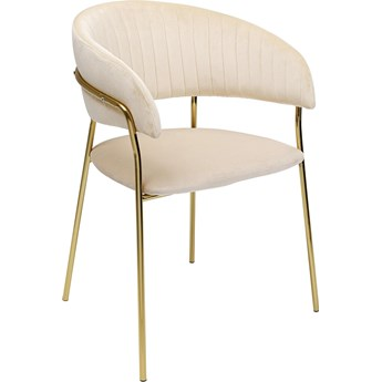 Zestaw dwóch krzeseł z podłokietnikami Belle 61x80 cm kremowe