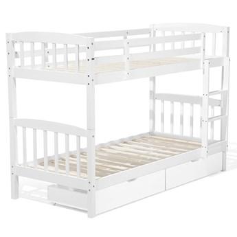 Łóżko dziecięce piętrowe z szufladami białe drewniane z drabinką 90 x 200 cm Skandynawski design