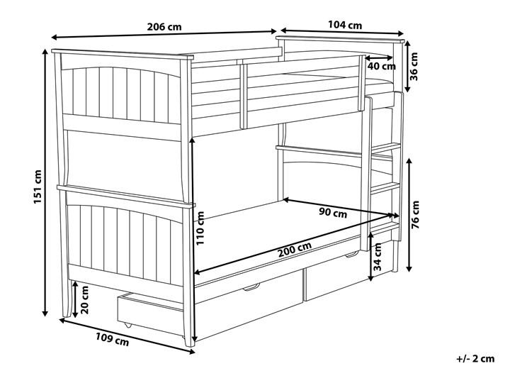 Łóżko dziecięce piętrowe białe drewniane z drabinką 90 x 200 cm Skandynawski design Drewno Kolor Biały Łóżko piętrowe Rozmiar materaca 90x200 cm