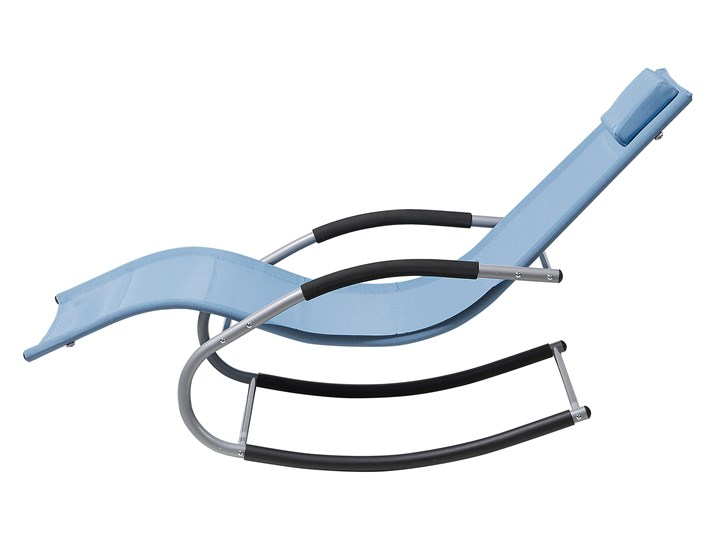 Leżak ogrodowy niebieski bujany ogrodowy na płozach z poduszką zagłówkiem Bujane Metal Leżanki Kategoria Leżaki ogrodowe
