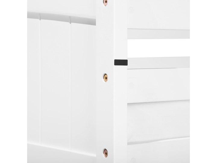 Łóżko dziecięce piętrowe białe drewniane z drabinką 90 x 200 cm Skandynawski design Drewno Łóżko piętrowe Kolor Biały