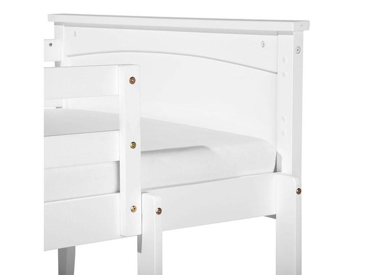 Łóżko dziecięce piętrowe białe drewniane z drabinką 90 x 200 cm Skandynawski design Łóżko piętrowe Drewno Kategoria Łóżka dla dzieci