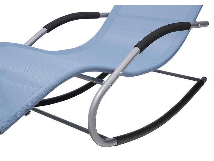Leżak ogrodowy niebieski bujany ogrodowy na płozach z poduszką zagłówkiem Leżanki Metal Bujane Kategoria Leżaki ogrodowe