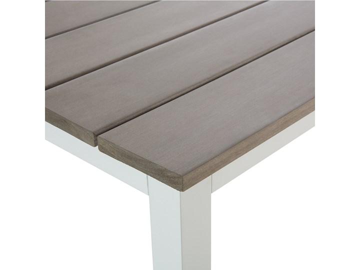 Zestaw mebli ogrodowych 6-osobowy biały aluminium zielone poduszki narożnik pufa stół stolik Zestawy modułowe Styl Nowoczesny Zestawy wypoczynkowe Tworzywo sztuczne Kolor Zielony