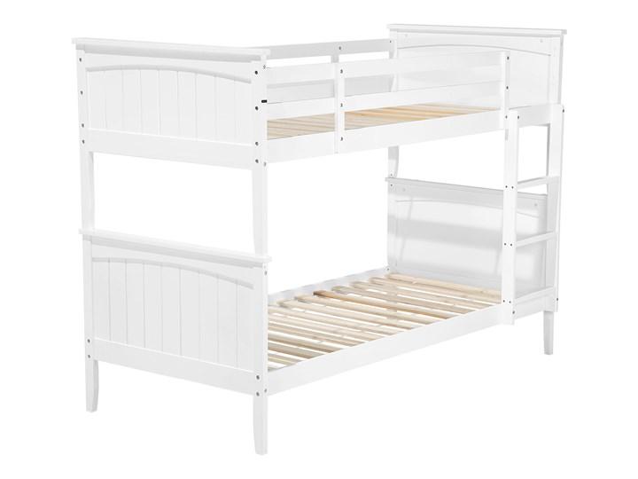 Łóżko dziecięce piętrowe białe drewniane z drabinką 90 x 200 cm Skandynawski design Łóżko piętrowe Drewno Kolor Biały