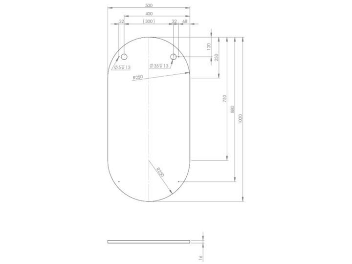 Elita Meble lustro owalne 50/100 cm 167567 Ścienne Lustro bez ramy Pomieszczenie Łazienka Kolor Srebrny