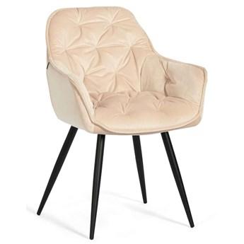 Beżowe krzesła tapicerowane na czarnych nóżkach DC-9220