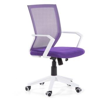 Krzesło biurowe fioletowe siatka obrotowe regulacja wysokości wysokie oparcie z blokadą