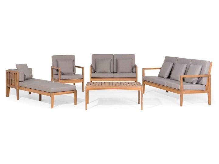 Zestaw ogrodowy brązowy jasne drewno akacjowe 2 ławki 1 fotel 1 leżak 1 stół poduchy retro