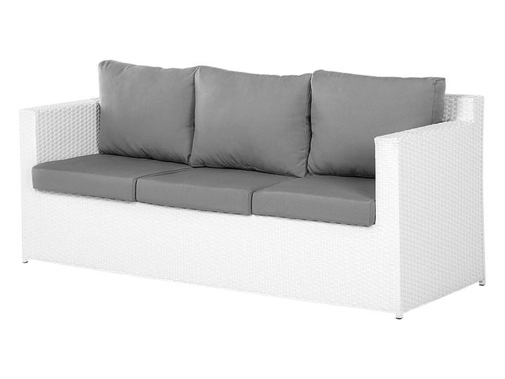 Zestaw mebli ogrodowych 5-osobowy biały rattan szare poduszki sofa 2 fotele pufa stolik Tworzywo sztuczne Zestawy wypoczynkowe Technorattan Aluminium Styl Nowoczesny