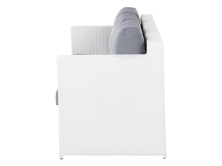 Zestaw mebli ogrodowych 5-osobowy biały rattan szare poduszki sofa 2 fotele pufa stolik Technorattan Tworzywo sztuczne Styl Nowoczesny Aluminium Zestawy wypoczynkowe Kategoria Zestawy mebli ogrodowych
