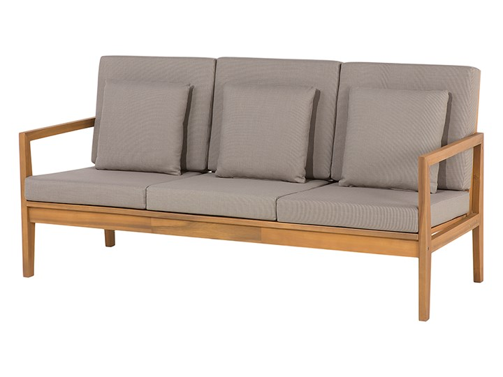 Zestaw ogrodowy brązowy jasne drewno akacjowe 2 ławki 1 fotel 1 leżak 1 stół poduchy retro Zestawy wypoczynkowe Tworzywo sztuczne Zawartość zestawu Fotele Zestawy kawowe Styl Vintage