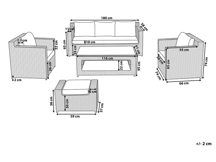 Zestaw mebli ogrodowych 5-osobowy biały rattan szare poduszki sofa 2 fotele pufa stolik Tworzywo sztuczne Aluminium Technorattan Zestawy wypoczynkowe Kategoria Zestawy mebli ogrodowych Styl Nowoczesny
