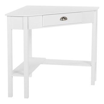 Biurko narożne 80 x 70 cm 1 szuflada 2 półki białe minimalistyczne do biura