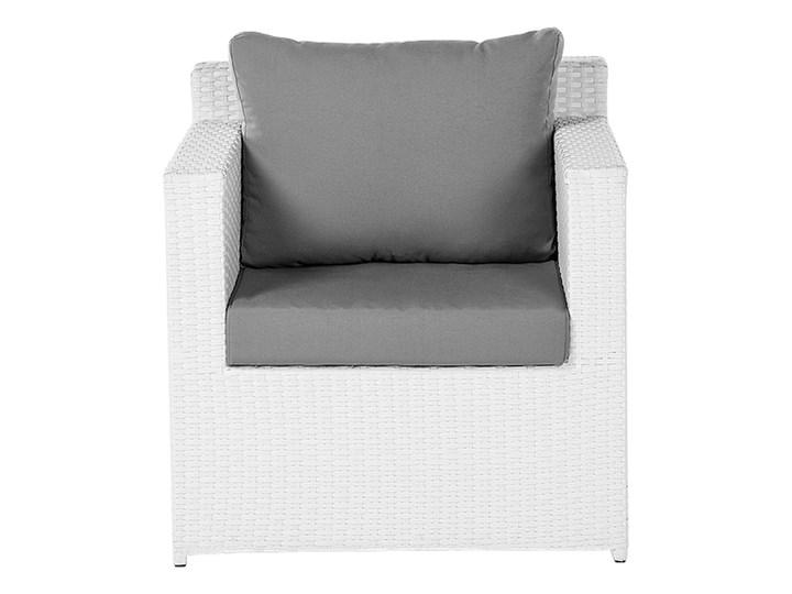 Zestaw mebli ogrodowych 5-osobowy biały rattan szare poduszki sofa 2 fotele pufa stolik Aluminium Tworzywo sztuczne Styl Nowoczesny Zestawy wypoczynkowe Technorattan Kategoria Zestawy mebli ogrodowych