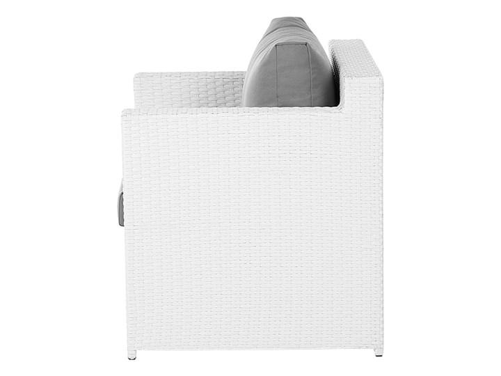 Zestaw mebli ogrodowych 5-osobowy biały rattan szare poduszki sofa 2 fotele pufa stolik Aluminium Tworzywo sztuczne Technorattan Zestawy wypoczynkowe Styl Nowoczesny