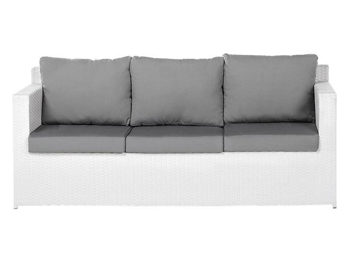 Zestaw mebli ogrodowych 5-osobowy biały rattan szare poduszki sofa 2 fotele pufa stolik Zestawy wypoczynkowe Technorattan Aluminium Tworzywo sztuczne Kategoria Zestawy mebli ogrodowych